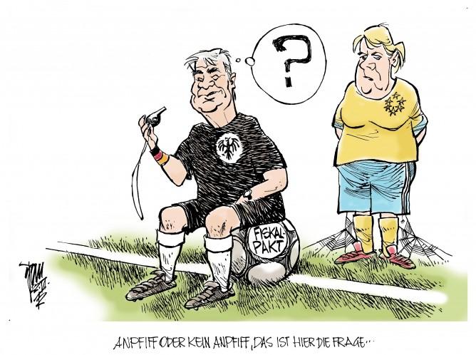 Bundespräsident Gauck als Schiedsrichter, Merkel wartet auf Anstoss