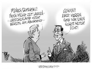 Euro-Krise, Griechenland, Merkel, Samaras, Caricatura,Caricature