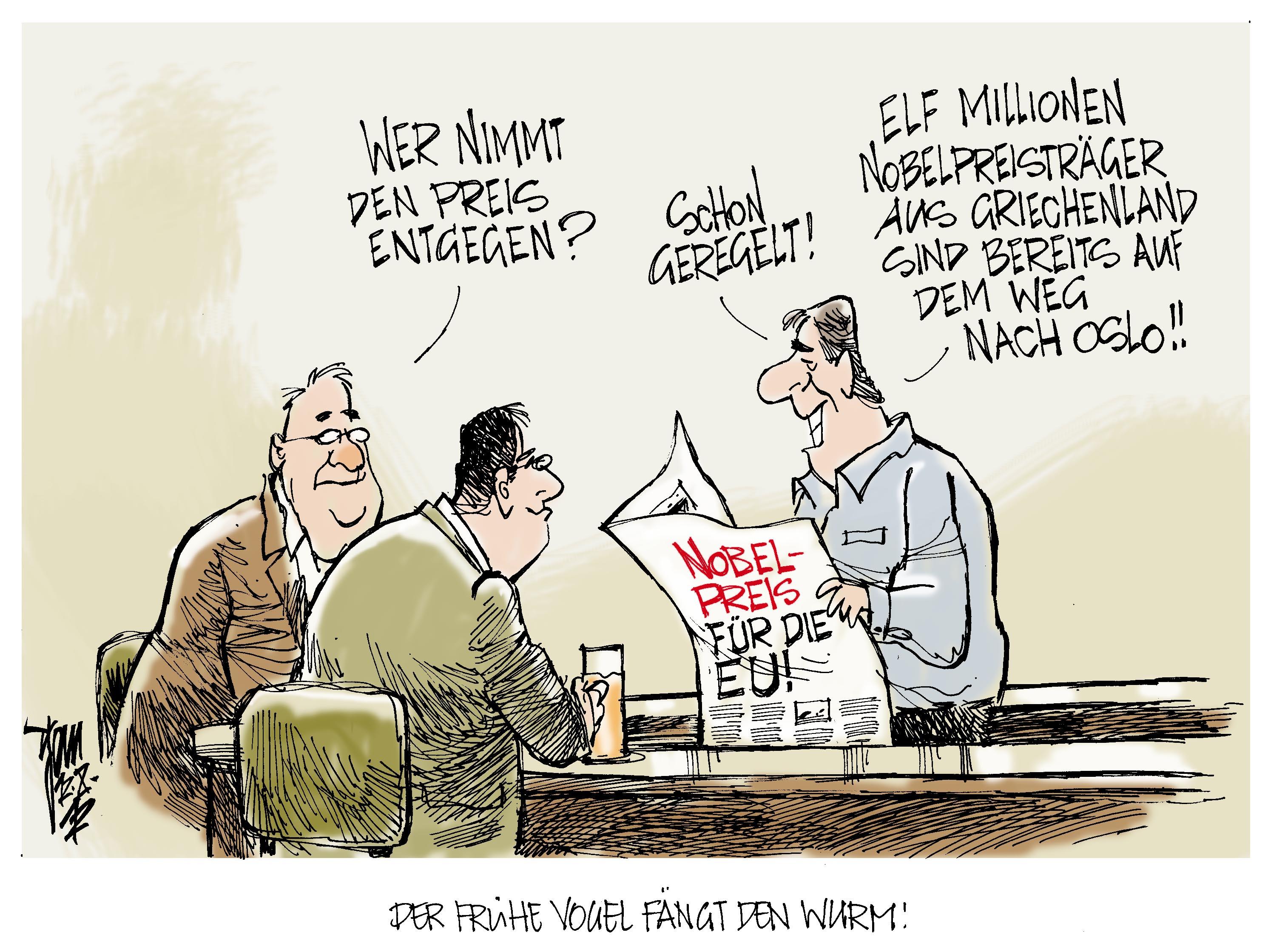 Aktuelle Karikaturen: Nobelpreis für EU