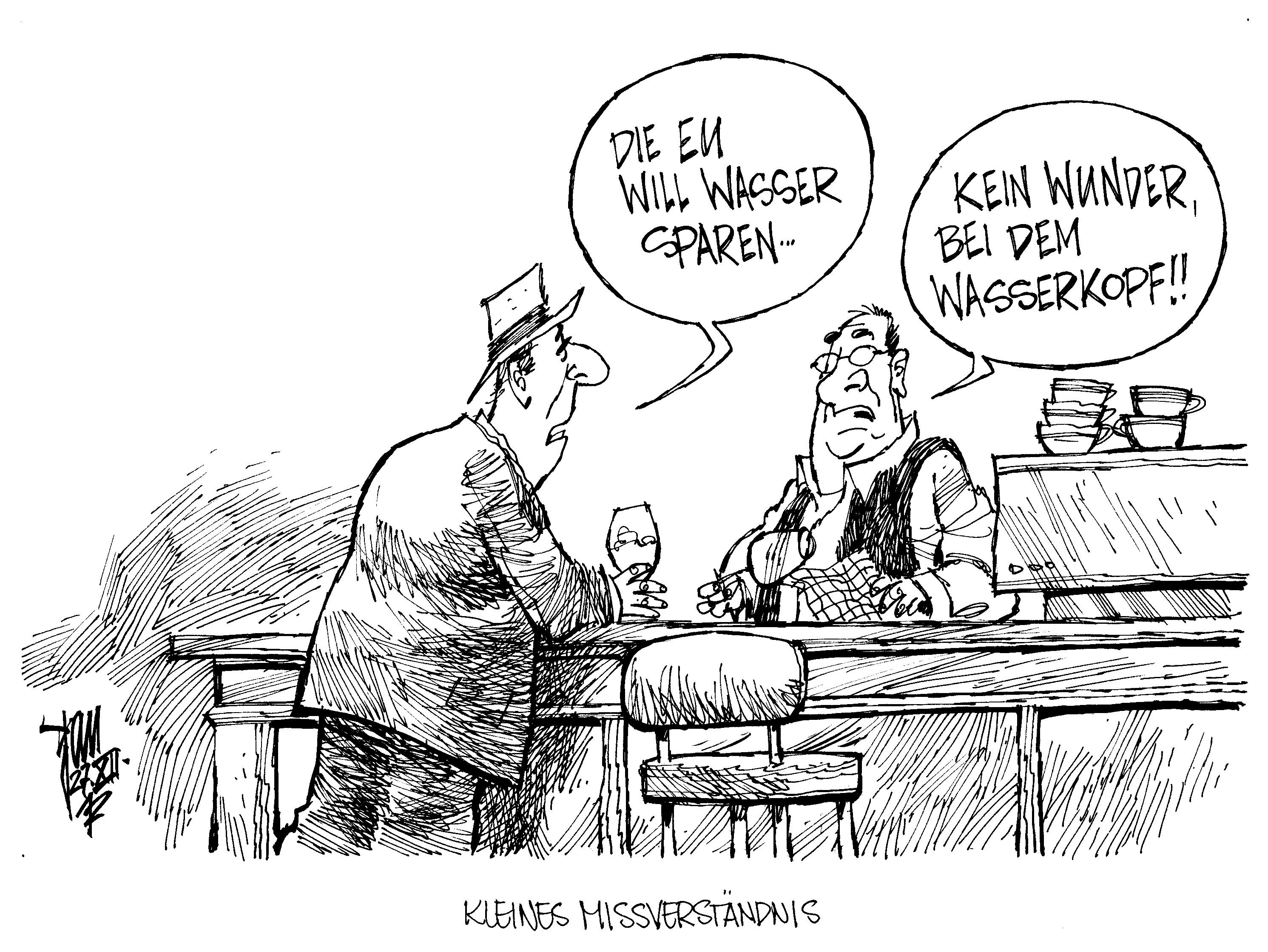 aktuelle karikaturen  die eu will wasser sparen