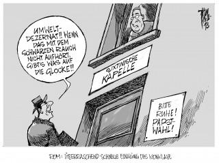 Papstwahl: Schwarzer Rauch steigt vom Dach der Sixtinischen Kapelle...