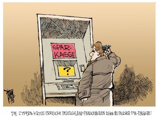 Zypern-Krise: Wut über gesperrte Geldautomaten in Zypern.Sparer in Europa verunsichert.