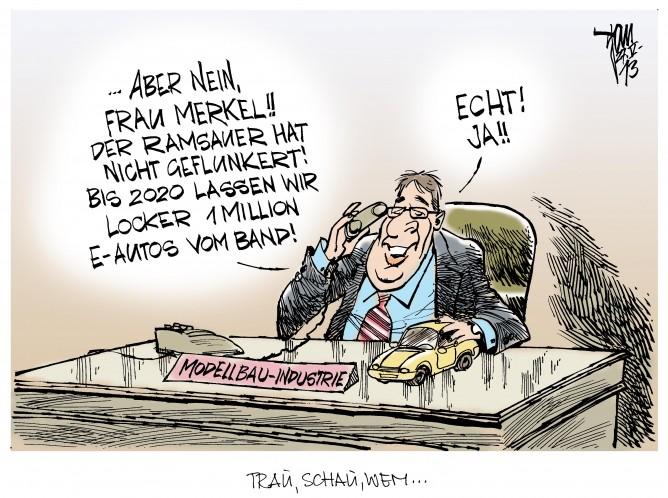 Elektro-Autos: Merkel und Ramsauer halten eine Million E-Autos bis 2020 realisierbar.