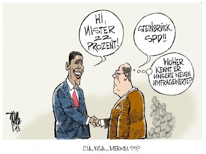 SPD- Umfragewerte: Nach der neuesten Forsa- Umfrage liegt die SPD bei 22% – Jahrestief. Obama trifft bei seinem Besuch in Berlin Steinbrück.