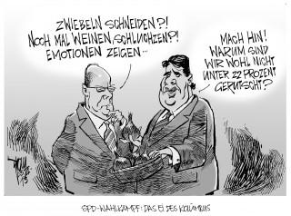 SPD im Umfragetief:  Peer Steinbrück hat nach seinem bühnenreifen, emotionalen Auftritt in den Umfragen wieder leicht zugelegt. Die Partei selbst dümpelt bei 22 Prozent.