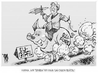 Solidaritätsfonds für Euro-Staaten: Merkel zieht Soli-Fonds für die Euro-Zone in Erwägung. EU-Gipfel in Brüssel.