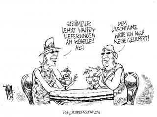 Steinmeier lehnt Waffenlieferungen an Rebellen ab: Syrische Rebellen werden aus Deutschland keine Waffen erhalten.