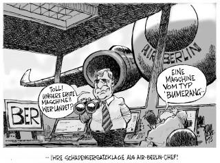 BER- Aufsichtsrat prüft Mehdorns Millionenbrief: Als Air-Berlin- Chef hatte Mehdorn den Großflughafen Berlin auf Schadensersatz verklagt.In seiner jetzigen Position als BER-Chef entsteht da ein Interessenkonflikt.