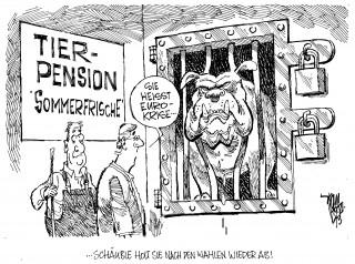 Euro-Krise: Das Parlament geht in die Sommerpause.  Die Euro-Krise wird erst einmal weggeschlossen. Bloß keine unangenehme Nachrichten vor den Bundes