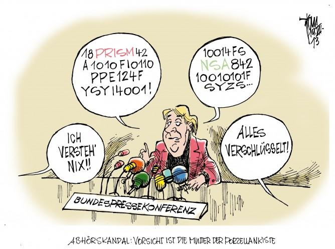 """Bundespressekonferenz: Bevor es in die Sommerfrische geht , stellt sich Angela Merkel den Fragen der Journalisten. Besonders brisant das Thema """"NSA- Spähprogramme"""", Prism und Co."""