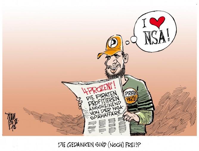 Piratenpartei: In den Umfragen liegen die Piraten derweil bei vier Prozent. Offenbar von der NSA-Spähaffäre beflügelt.