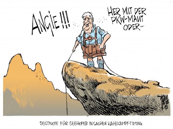 PKW-Maut: Die CSU fordert die PKW-Maut für Ausländer-von wegen Horst Seehofer hält sich bis zur Bundestagswahl zurück.