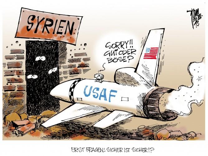 Syrien- Krise: Nach dem angeblichen Giftgaseinsatz von Assad erwägen die USA , Großbritannien und Frankreich einen Militärschlag.Kollateralschäden sind vorprogrammiert.