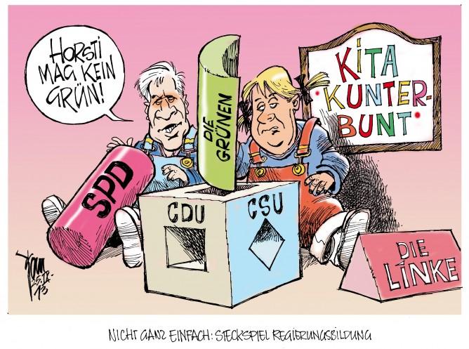 Regierungsoptionen: So recht will niemand mit Merkel koalieren, auch Horst Seehofer hat so seine Vorstellungen...