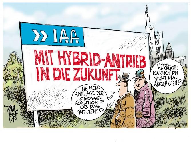 Bundestagsahl 2013: Mit Hybrid-Antrieb in die Zukunft? Internationale Automobil-Ausstellung in Frankfurt. IAA.
