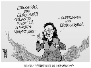 Koalitionsverhandlungen: Seehofer knickt ein in Sachen Doppelpass und Mindestlohn. Die meisten Kniegelenke werden in Bayern implantiert.SPD,CSU,CDU.