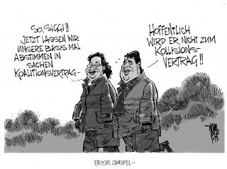 Koalitionsvertrag: Schwarz-Rot steht erst wenn die SPD-Basis ihren Segen gibt.
