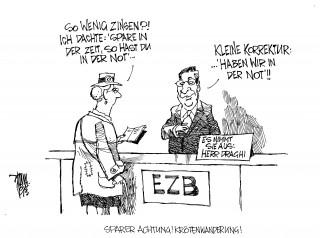 Leitzins auf Rekordtief: Die EZB will der kriselnden Wirtschaft in der Euro-Zone neuen Schwung durch die Senkung des Leitzinses verleihen. Die niedrigen Zinsen gehen zu Lasten der Sparer, der Altersvorsorge.