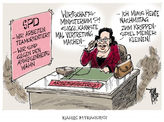Nahles gegen den Anwesenheitswahn: Andrea Nahles, SPD, will die Vollzeit neu definieren- man kann sich auch in Spitzenpositionen gegenseitig vertreten