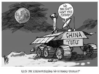 """GroKo: Das neue Kabinett nimmt langsam Formen an. Kanzleramtsminister Ronald Pofalla wird nicht mehr vertreten sein. Ablösung durch Peter Altmaier.  Chinas Mondlandung verläuft ohne Probleme, das Mondfahrzeug """" Yutu """" wird ausgesetzt."""