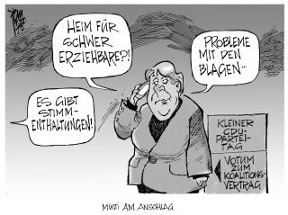 CDU-Votum zum Koalitionsvertrag: Beim kleinen CDU-Parteitag stimmten bis auf zwei Enthaltungen alle mit ja zum GroKo-Vertrag.