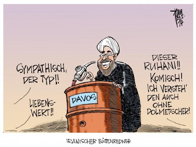 Weltwirtschaftsforum in Davos: Der Iran startet eine Charmoffensive um den Handel mit den westlichen Staaten wieder anzukurbeln- mit dem Stimmungsaufheller Erdöl.