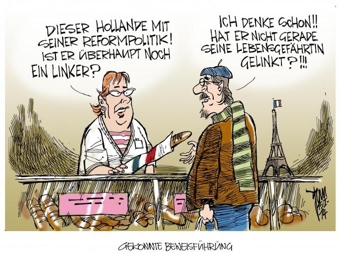 Hollandes Reformpläne: Hollande in schwerem Fahrwasser. Auf der einen Seite Beziehungsprobleme mit Valérie Trierweiler und auf der anderen Seite Widerstand gegen seine Reformpläne.
