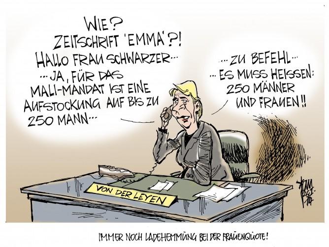 Bw-Auslandseinsätze: Von der Leyen ist für ein stärkeres Engagement der Bundeswehr im Ausland. Frauenquote, Alice Schwarzer, Zeitschrift Emma.