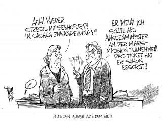 Zuwanderungsdebatte: Es knirscht in der GroKo. Stichwörter: Steinmeier, Merkel, Seehofer,Schwarz-Rot.