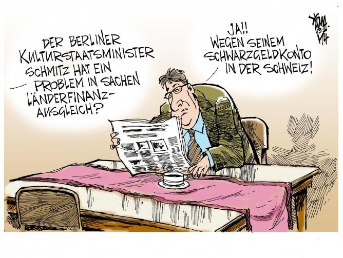 Steueraffäre Schmitz: Der Berliner Kulturstaatsminister Schmitz, SPD, hat bestätigt , dass er ein Schweizer Konto mit 425 000 Euro nicht versteuert hat.