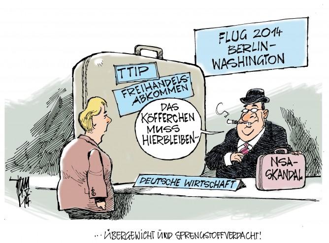 Merkels USA-Reise, TTIP, Freihandelsabkommen,Deutsche Wirtschaft, NSA-Skandal